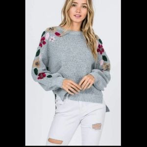 Kayla's Armoire Embroidered Floral Sweater M/L